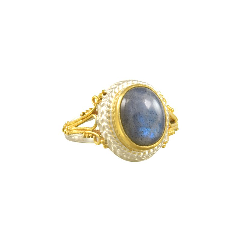 Sterling Silver Ring with Oval Labradorite