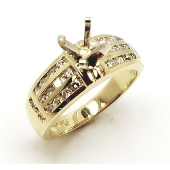 Yellow 14 Karat Ring With 30= Round Diamonds