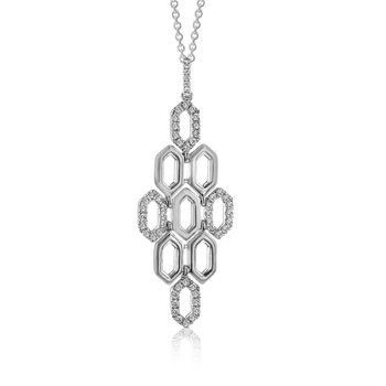 White 14 Karat Articulated Geometric Diamond Pendant