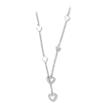 Sterling Silver Heart Station Lariat