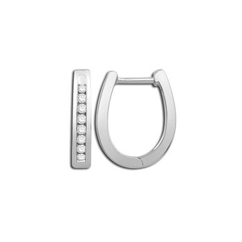 White Gold Channel Set Hoop Earrings