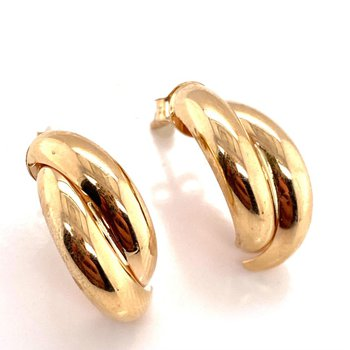 Yellow Gold X-Hoop Earrings