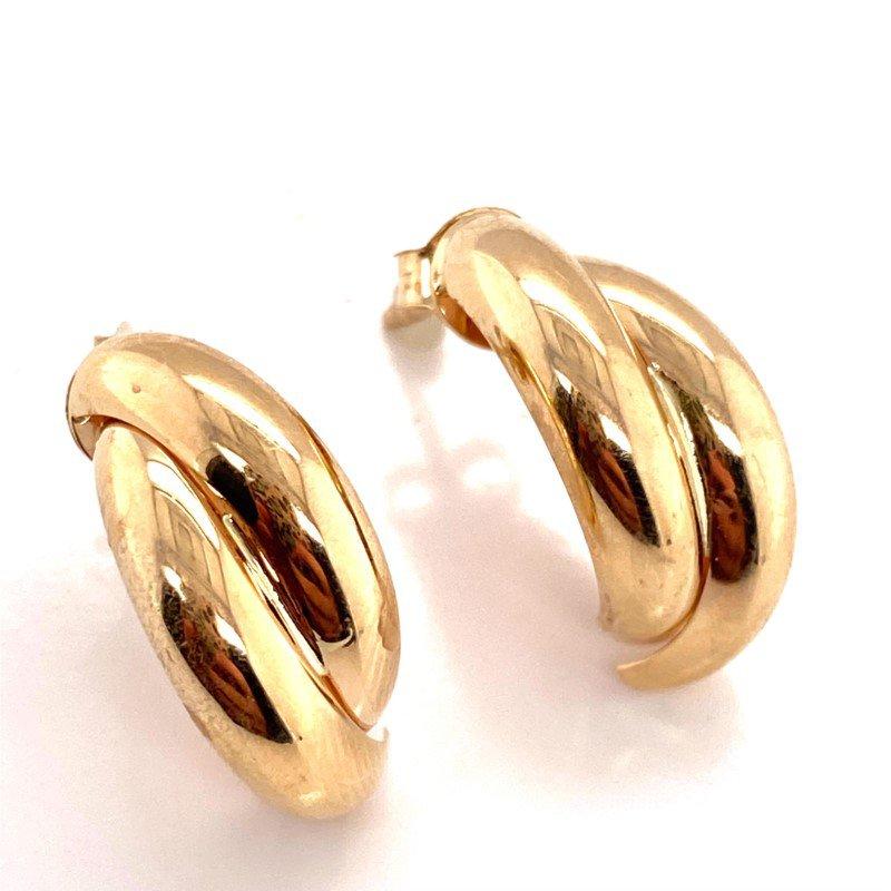 Yellow Gold X-Hoop Earrings