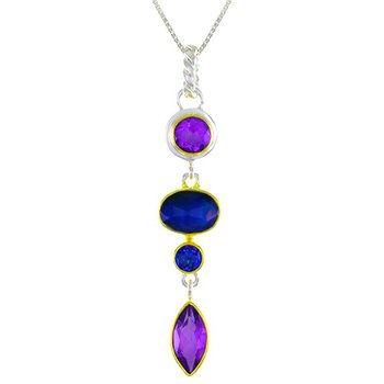 Sterling Silver Geometric Pendant With Various Colored Gemstones