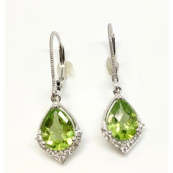 Pretty Peridot and Diamond Earrings