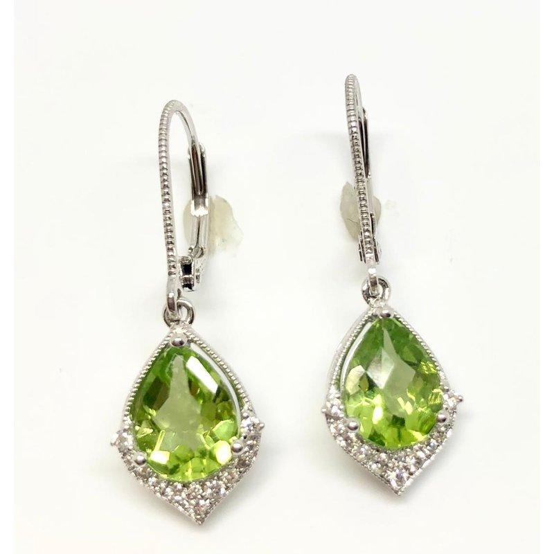 Pretty Peridot and Diamond Earrings