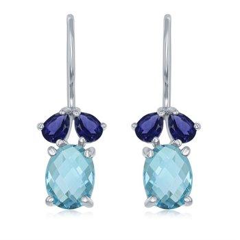 Blue Topaz And Iolite Drop Earrings
