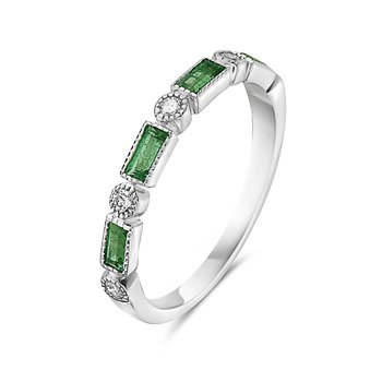Emerald  Baguette and Diamond Band in 14 kt White Gold