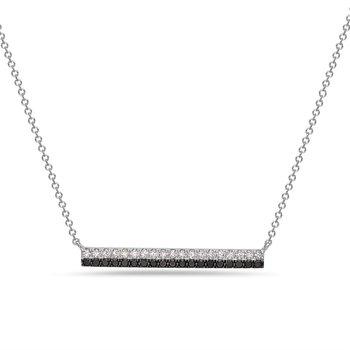 14 Karat White Gold Black and White Diamond Bar Pendant