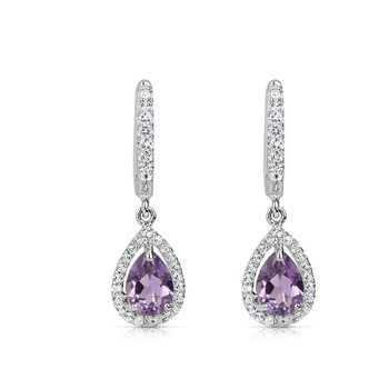 Spiffy Amethyst Earrings with White Sapphires