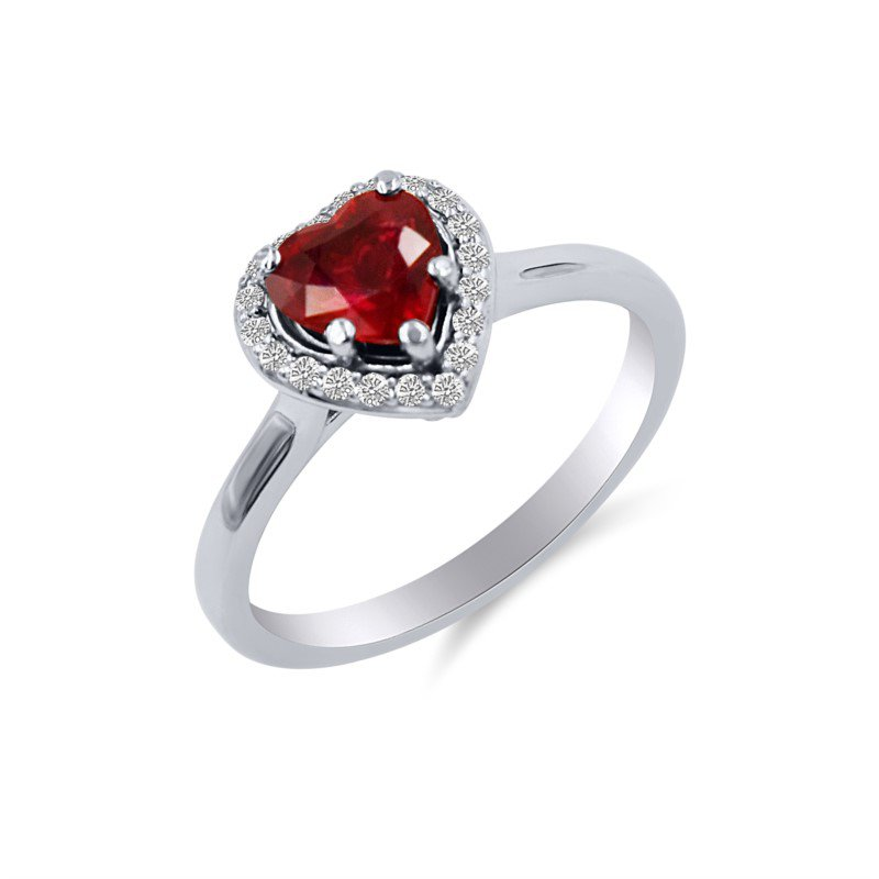 White Gold Ruby and Diamond Heart Shape Ring