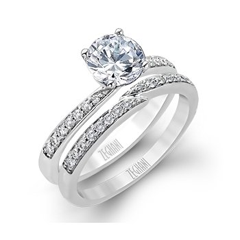 Bypass Wedding Set with Diamond Shanks