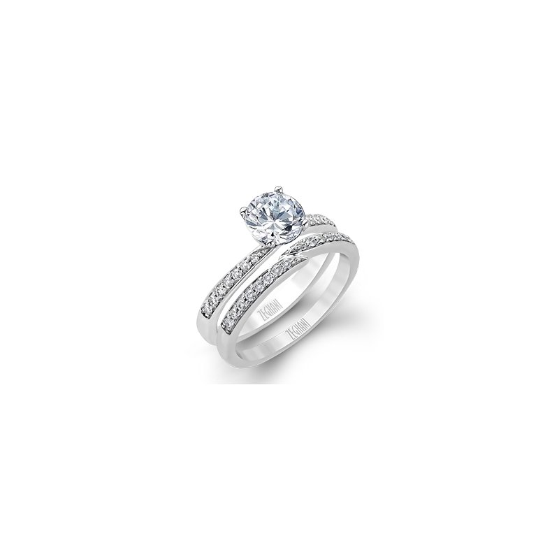 Bypass Wedding Set with Diamond Shanks
