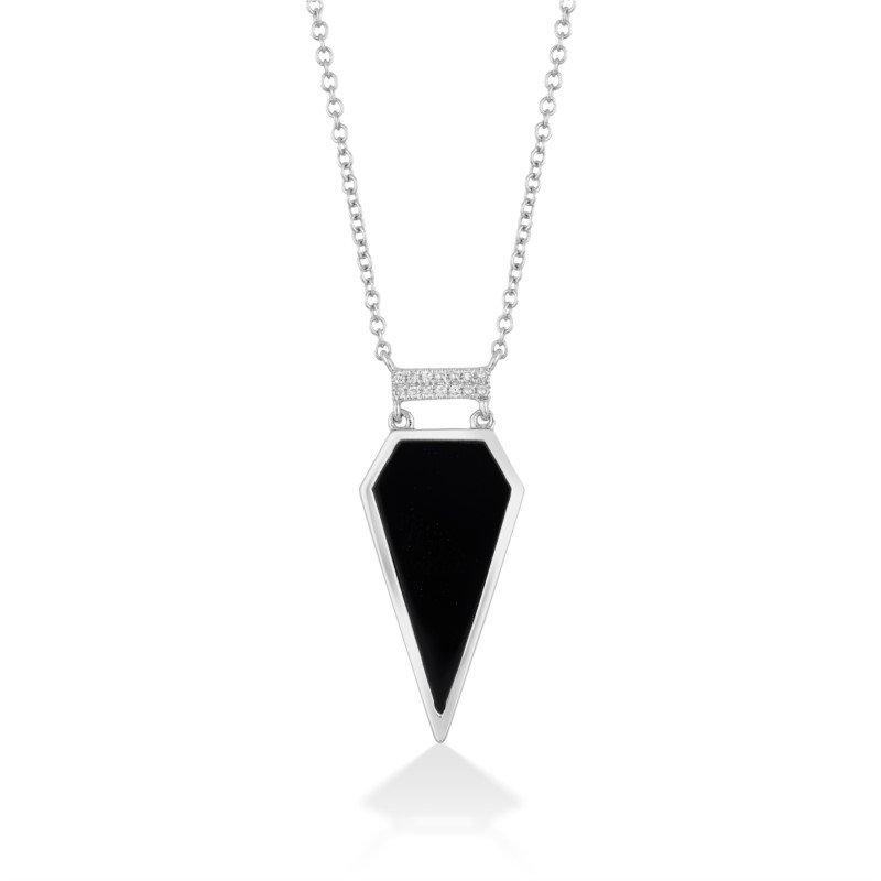 Sharp and Stylish Onyx and Diamond Gold Pendant
