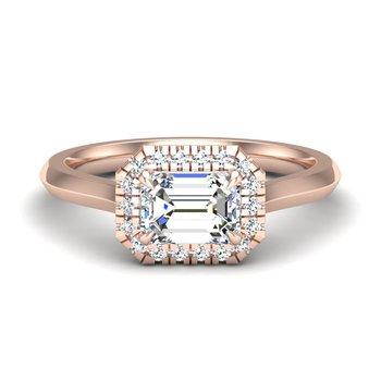 14 Karat East - West Diamond Halo Ring Mounting