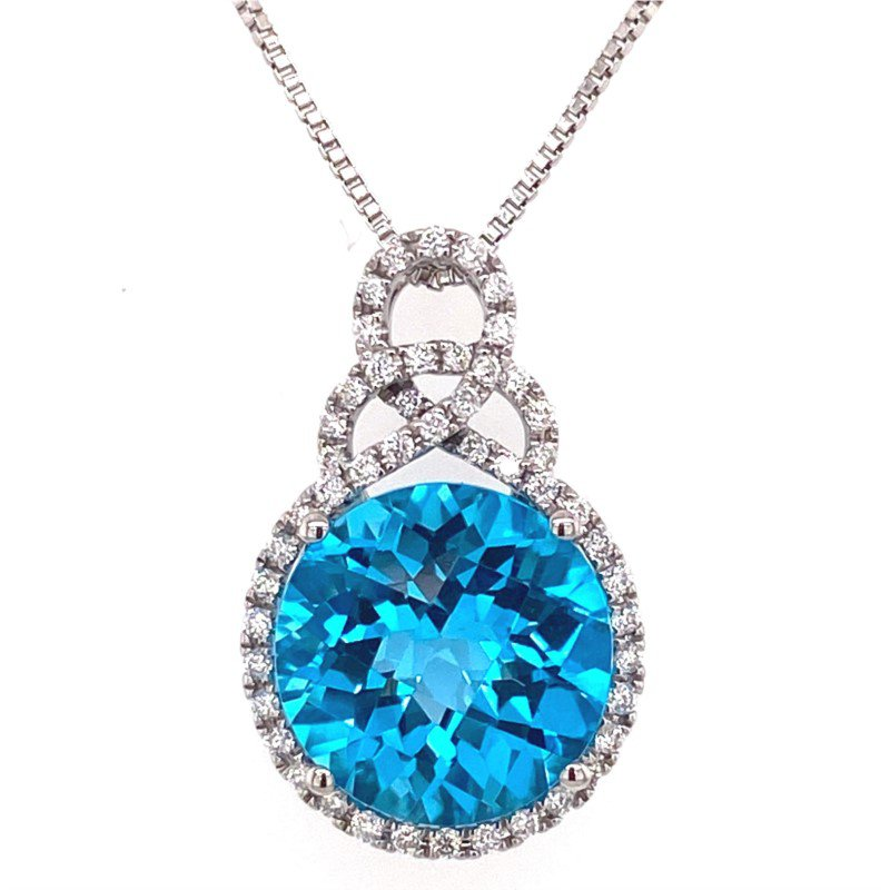 14 Karat Freeform Diamond and Blue Topaz Pendant