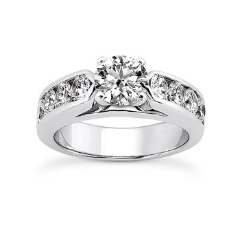 14 Karat White Gold Channel Set Engagement Ring Mounting