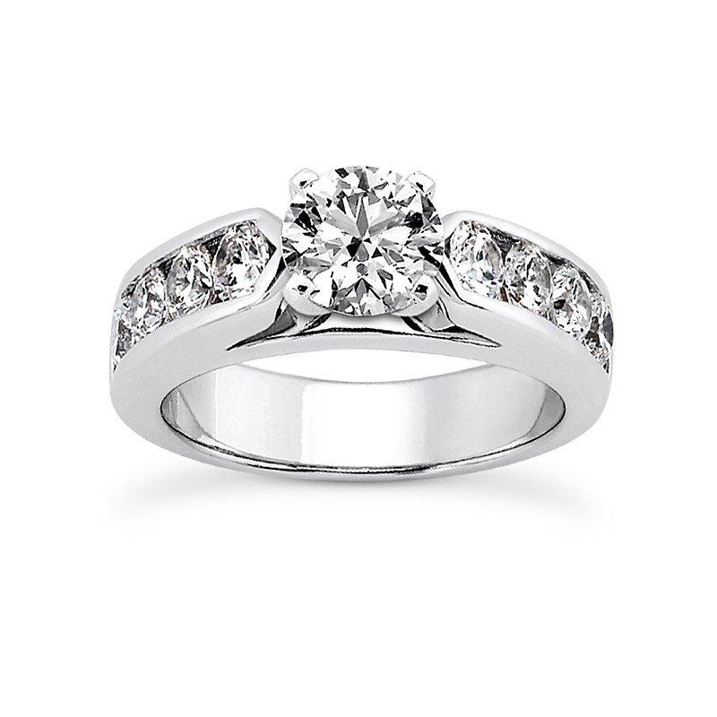 14 Karat White Gold Channel Set Engagement Ring Mounting