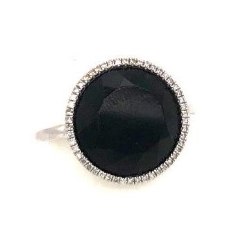 14 Karat White Gold Ring With Diamonds and Black Onyx