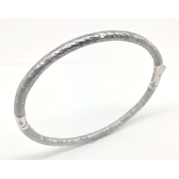 5 mm White Sterling Silver Foliage Bangle Bracelet