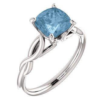 White Gold Infinity Twist Ring with Aquamarine