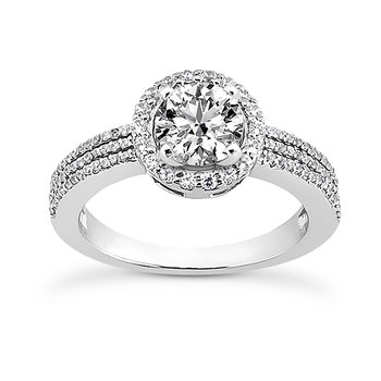 White 14 Karat Ring With 96 Round Diamonds=0.38Tw G/H Si