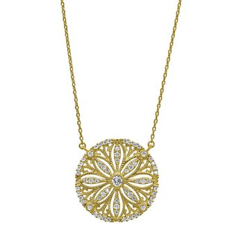 Sterling Silver and Gold Vermeil Sand Dollar with Crystals Pendant