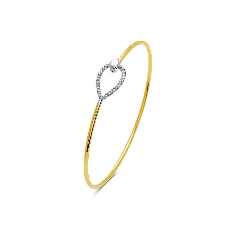14 Karat Yellow Gold Bangle Bracelet with Diamonds