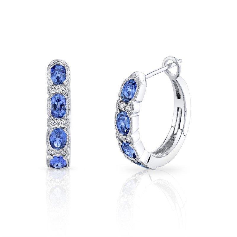 White Gold Sapphire and Diamond Huggie Earringd