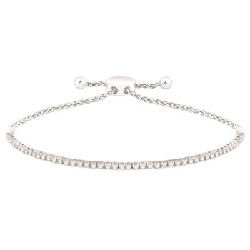 14 Karat Bolo Bracelet With 51=1.03Tw Round Diamonds adjustable length