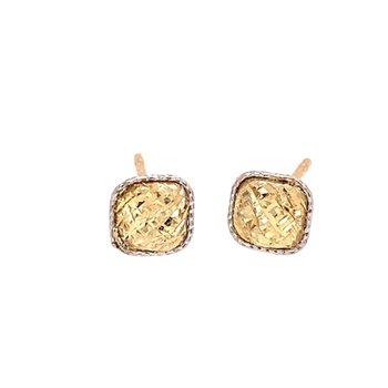 Diamond Cut 14 Karat Square Stud Earrings
