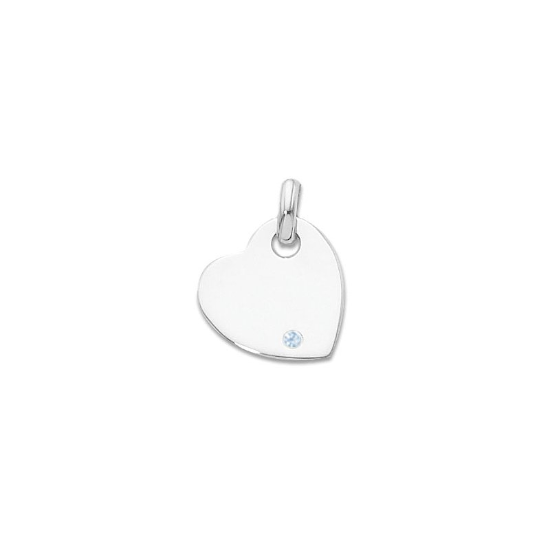 Sterling Silver Heart Charm With Imitation Aquamarine