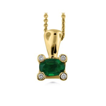 14 Karat Modern Emerald and Diamond Pendant
