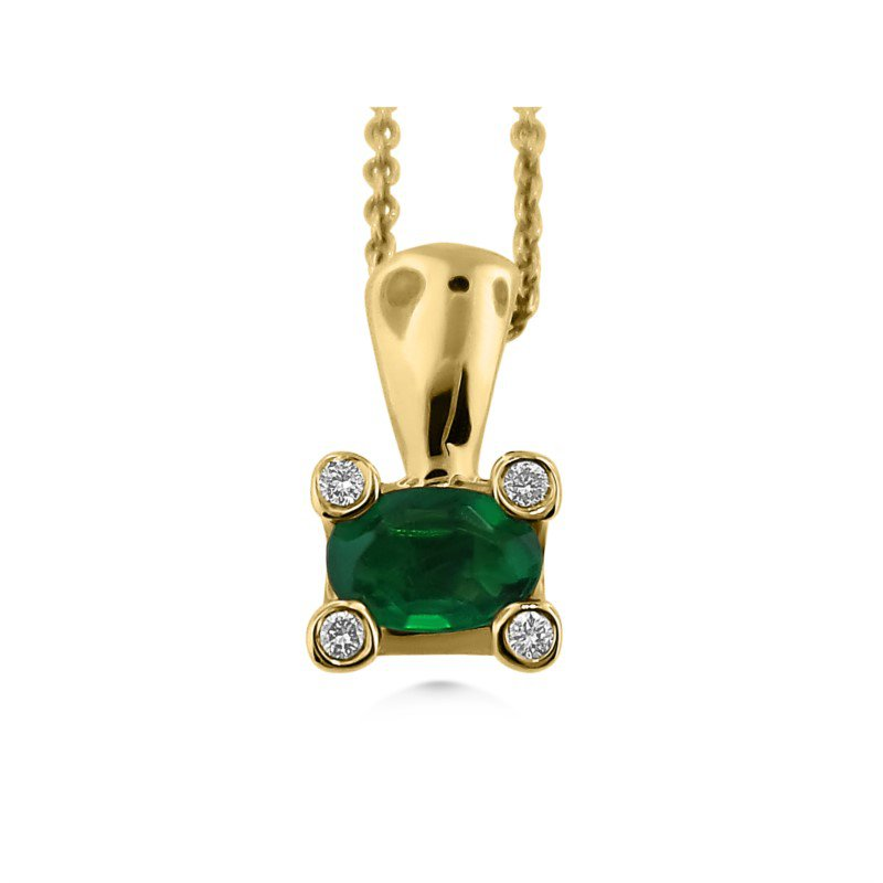 14 Karat Modern Emerald and Diamond Pendant