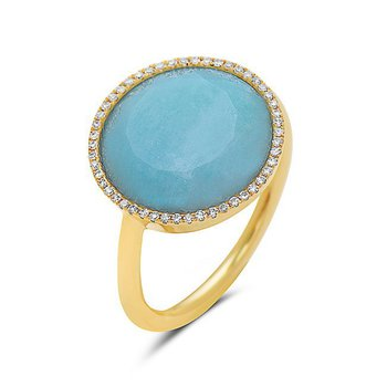 14 Karat Yellow Gold Ring With Amazonite and Diamonds