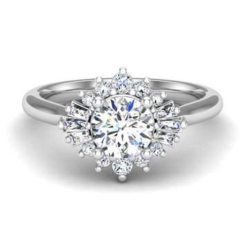 14 Karat Unique Halo Ring Mounting of Round and Baguette Diamonds