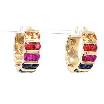 14 kt Hinged Hoops with Rainbow Sapphires