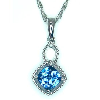 White 18 Karat Drop Pendant Cushion Tanzanite