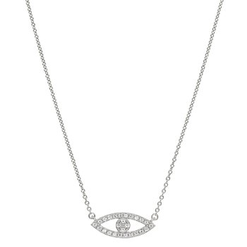 White Finish Sterling Silver Evil Eye with Simulated Diamonds with Adjustable Chain