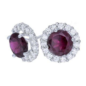Diamond Halo earrings with Grape Garnets