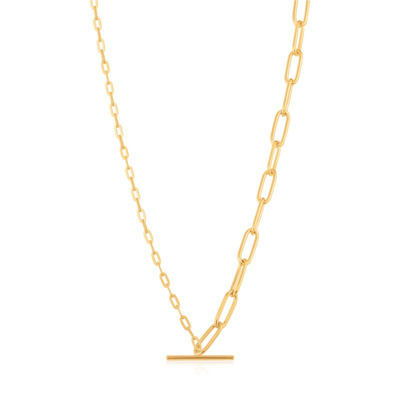 Yellow Sterling Silver Chain Reaction Mixed Link T-Bar Pendant