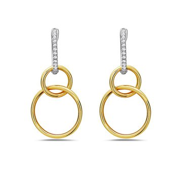 14 Karat Two-Tone Double Hoop Earrings with Diamonds