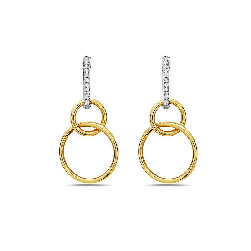 14 Karat Two-Tone Double Hoop Earrings with Diamonds