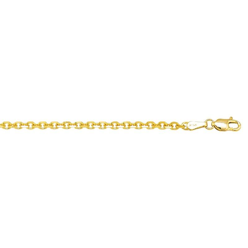 "Yellow Florentine 14 Karat Cable Link Necklace Length 22"""