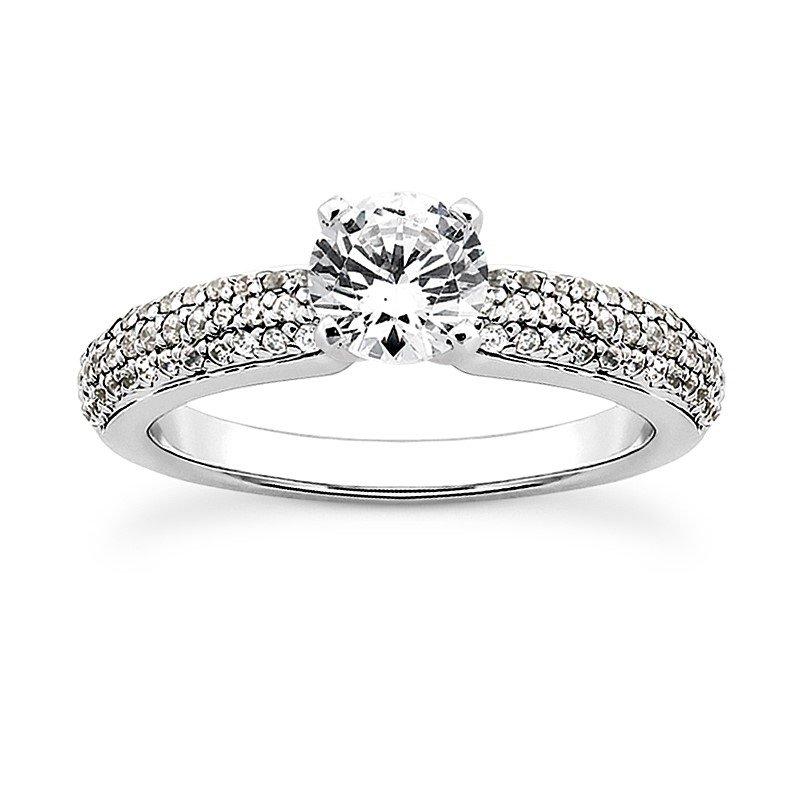 14 Karat Pave Shoulder Diamond Engagement Mounting