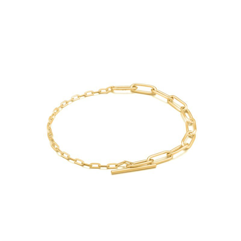 Yellow Sterling Silver Chain Reaction Mixed Link T-Bar Bracelet