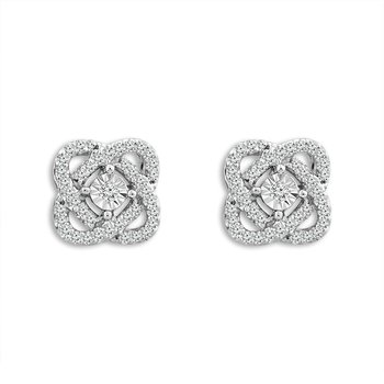 "10 Karat White Gold Diamond ""Love Knot"" Stud Earrings"