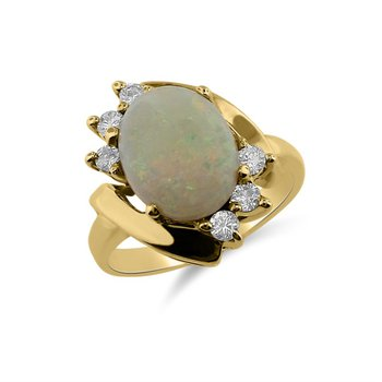 Yellow Gold Diamond and Opal Ring