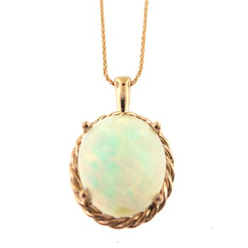 Fabulous Flashy Opal Pendant in 14 kt Rose Gold