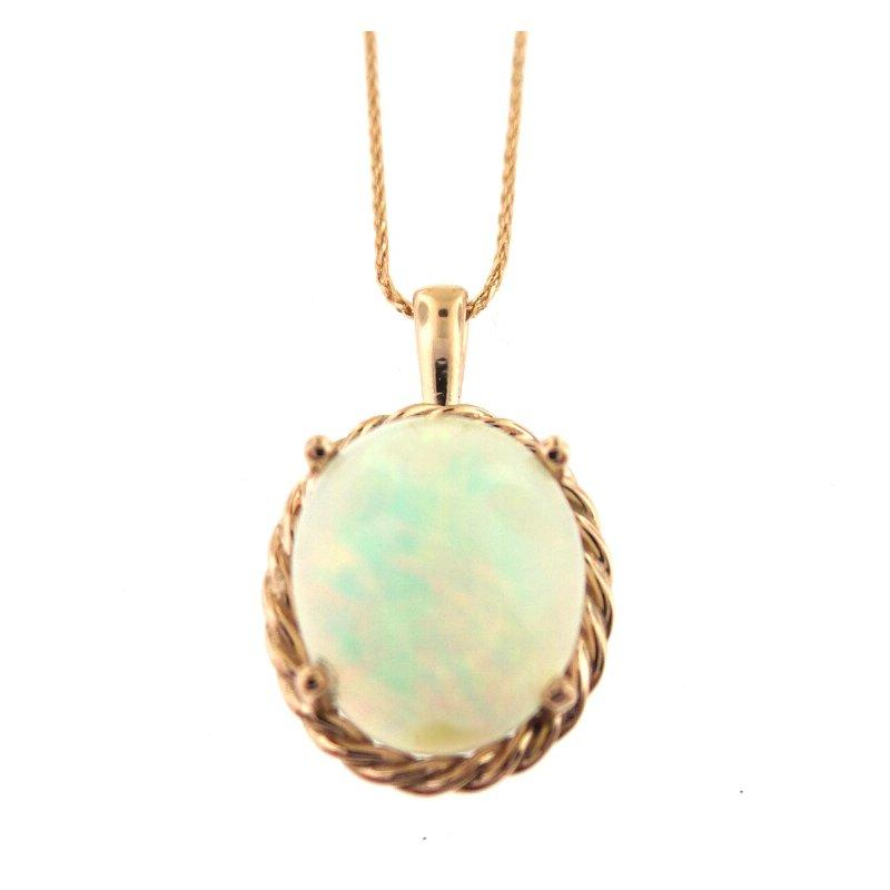 Fabulous Flashy Opal Pendant in 14 kt Rose Gold